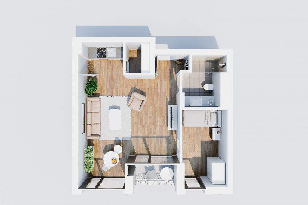 visualisierter Grundriss Wohnung Typ A